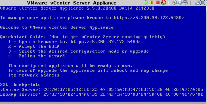 Welcome-скрин vCenter Server Appliance