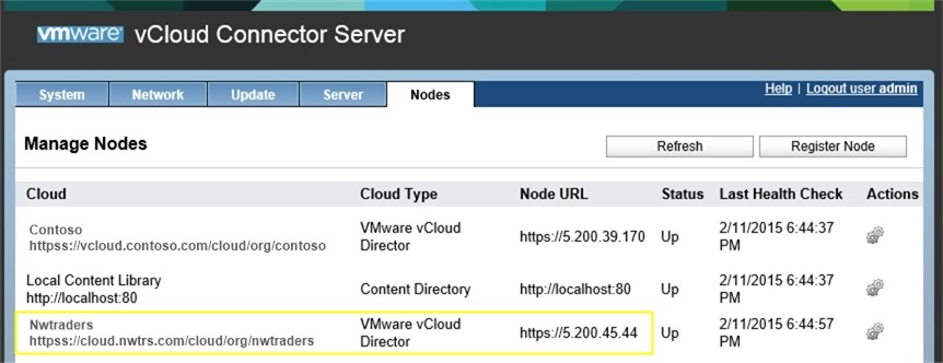 Пример регистрации vCloud Connector Node Nwtraders
