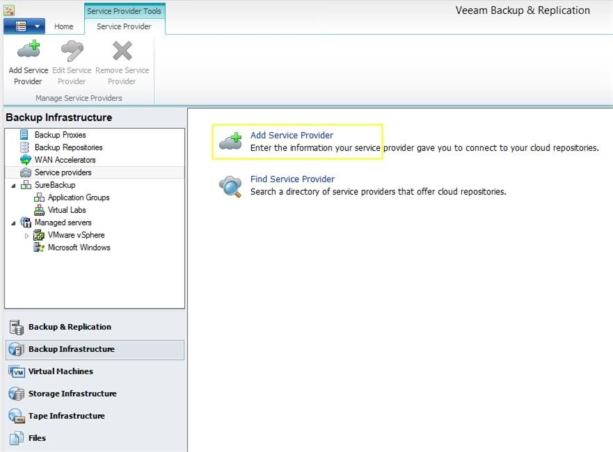 Пример возможности выбора облачного провайдера в консоли Veeam Backup & Replication