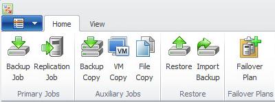 Пример возможных функций в панели Backup & Replication