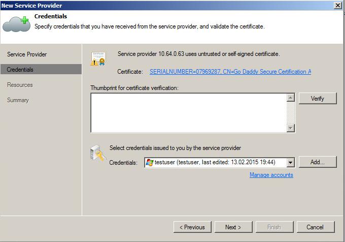 роверка валидности сертификата и введение верительных данных пользователя