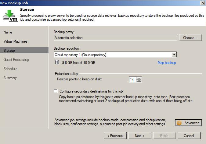 Пример выбора облачного репозитория для бэкапа виртуальных машин
